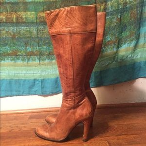 Burberry Knee High Leather Boots W/ Heel